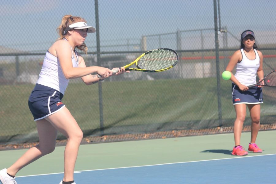 Angela Hartado, left, and Salma Prasad in a match versus College of the Sequoias on March 6. The young freshman team lost 8-1.