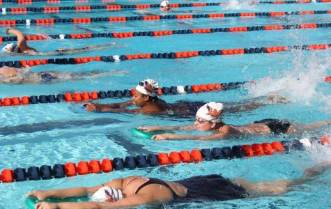 Swim team getting ready for  Big 8 Conference Women's Swimming Championship at American River College on April 19