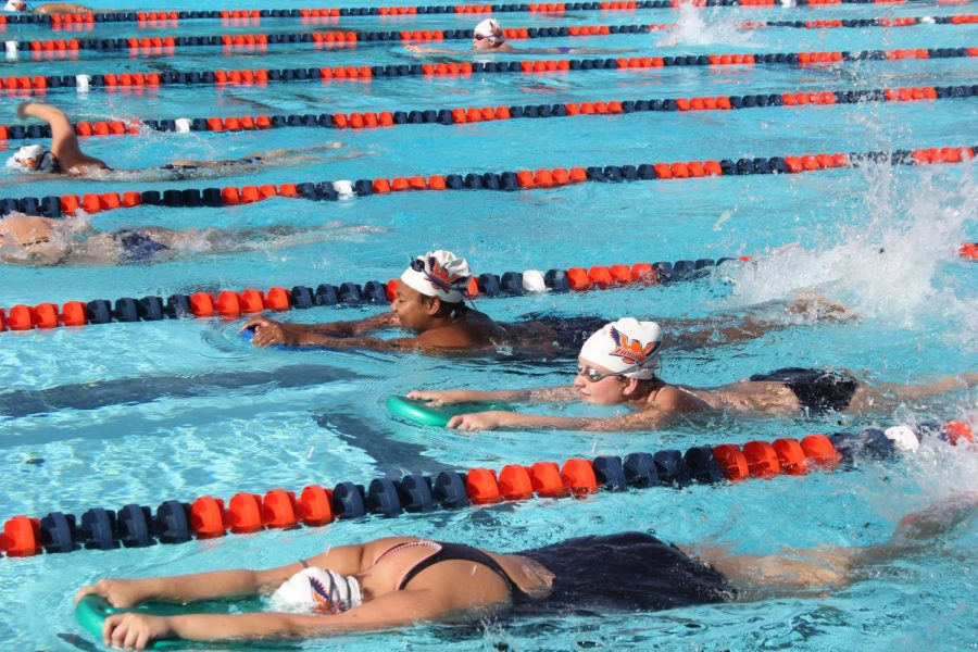 Swim+team+getting+ready+for++Big+8+Conference+Women%27s+Swimming+Championship+at+American+River+College+on+April+19