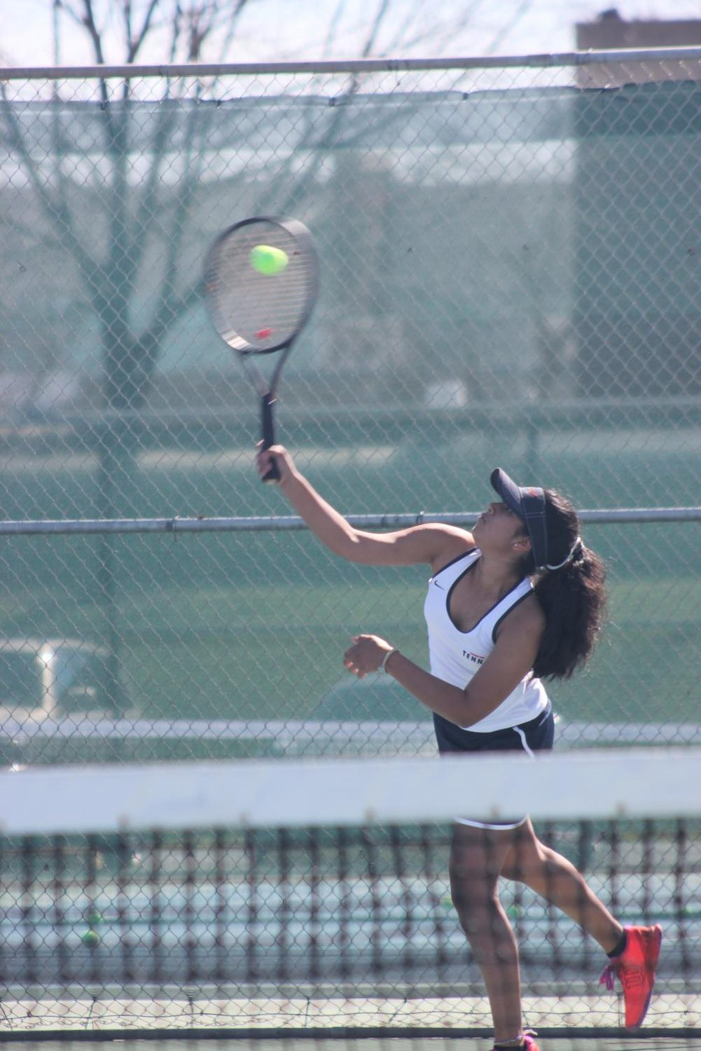 Salma Prasad in a match versus College of the Sequoias on March 6. The young freshman team lost 8-1.