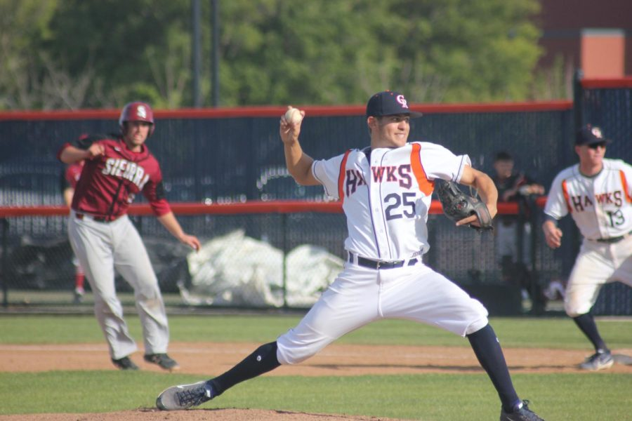 Cosumnes River College sophomore pitcher Daniel Vitoria on the mound against Sierra College in a win on March 29 that ended with a walk-off.
