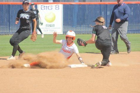 Third baseman Taelor Ford slides to second base in the bottom of the fourth inning, after a single from first baseman/middle infielder Ashlee Kaiser on Tuesday.