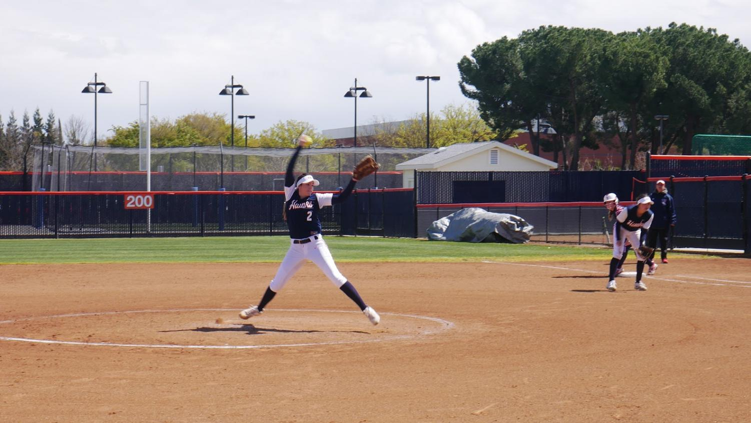 Cosumner River College sophomore softball pitcher Ashleigh Berg in a double header win against Santa Rosa Junior College at home on March 24.