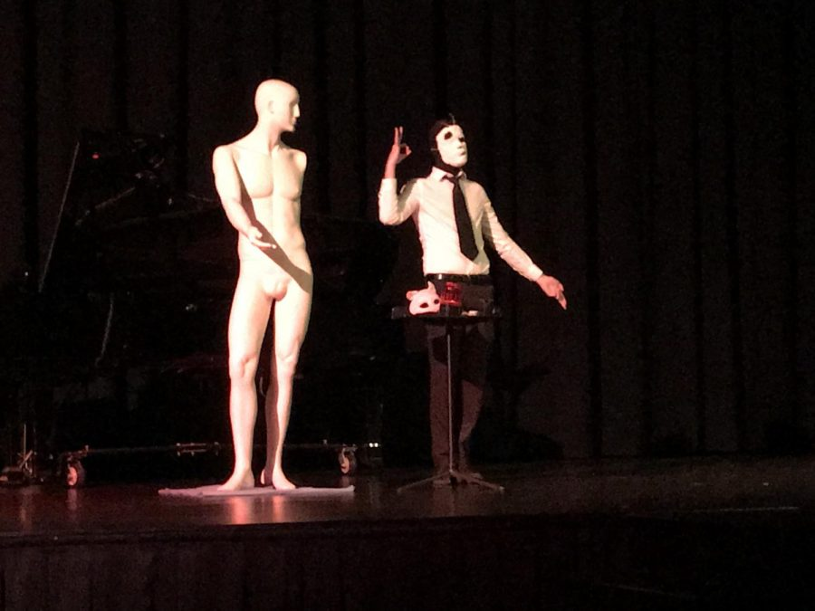 Daniel+Horne+performs+his+avant-garde+piece%2C+%22Dark+Room+Broken+Window%22+onstage+on+April+28.+Horne+says+the+piece+was+inspired+by+David+Lynch%27s+work.