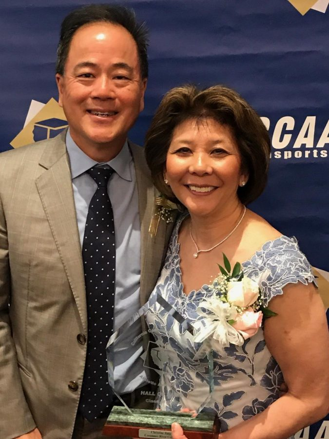 Former+CRC+gymnast+Christine+Jang+and+her+husband+Marc+on+March+28+at+the++2018+CCCAA+Sports+Hall+of+Fame+award+ceremony.