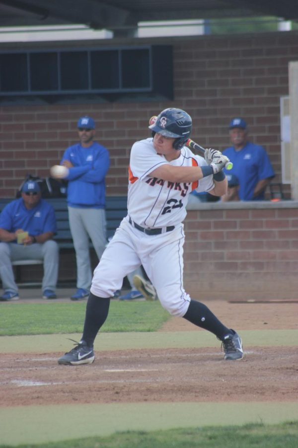 Sophomore first-baseman Joey Pankratz at bat against the Pirates of Modesto College in the bottom of the fifth inning at home on April 27.