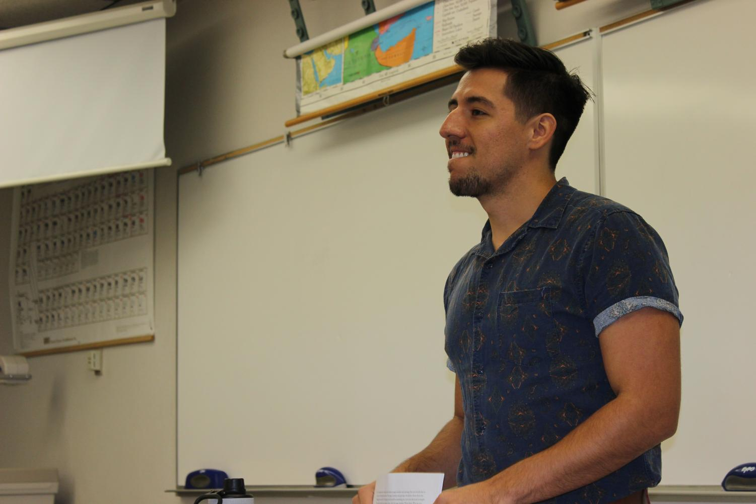 Jose Alfaro teaches his English Composition class. Alfaro was a former student on campus recently hired into the English department.