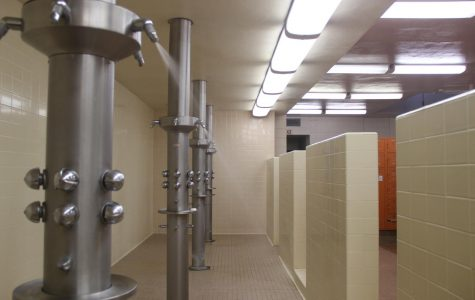 The showers in the mens locker room in the Physical Education building are available to students who are unsheltered. An estimated 13 to 14 percent of community college students are homeless.