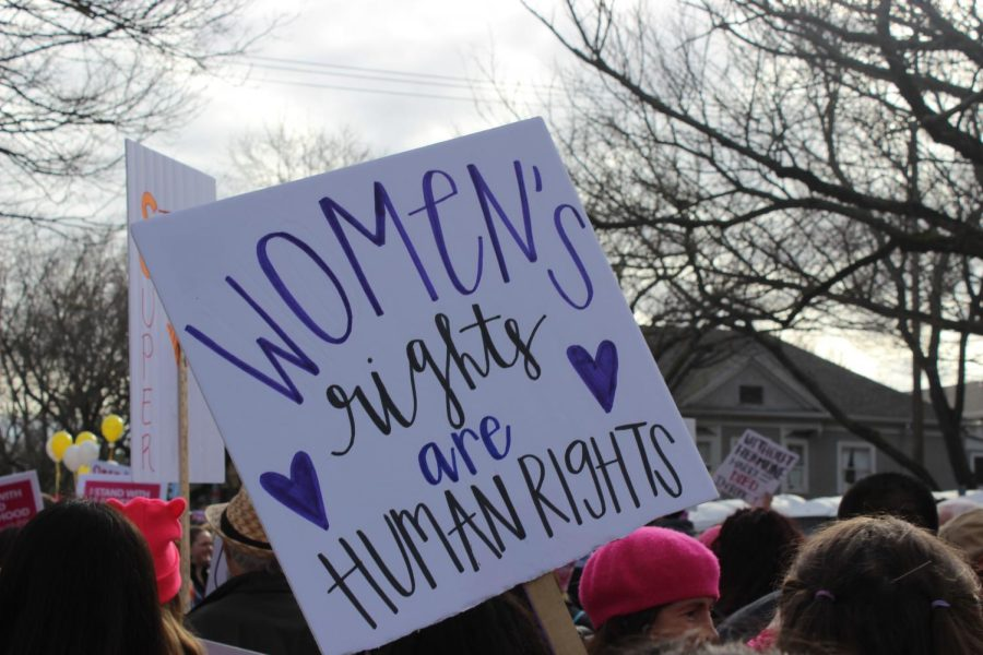 A+sign+that+reads+%22Women%27s+rights+are+human+rights%22+is+held+up+during+the+march+to+the+State+Capitol.+The+Women%27s+March+took+place+from+10+a.m.+to+3+p.m.+and+started+from+Southside+Park.++