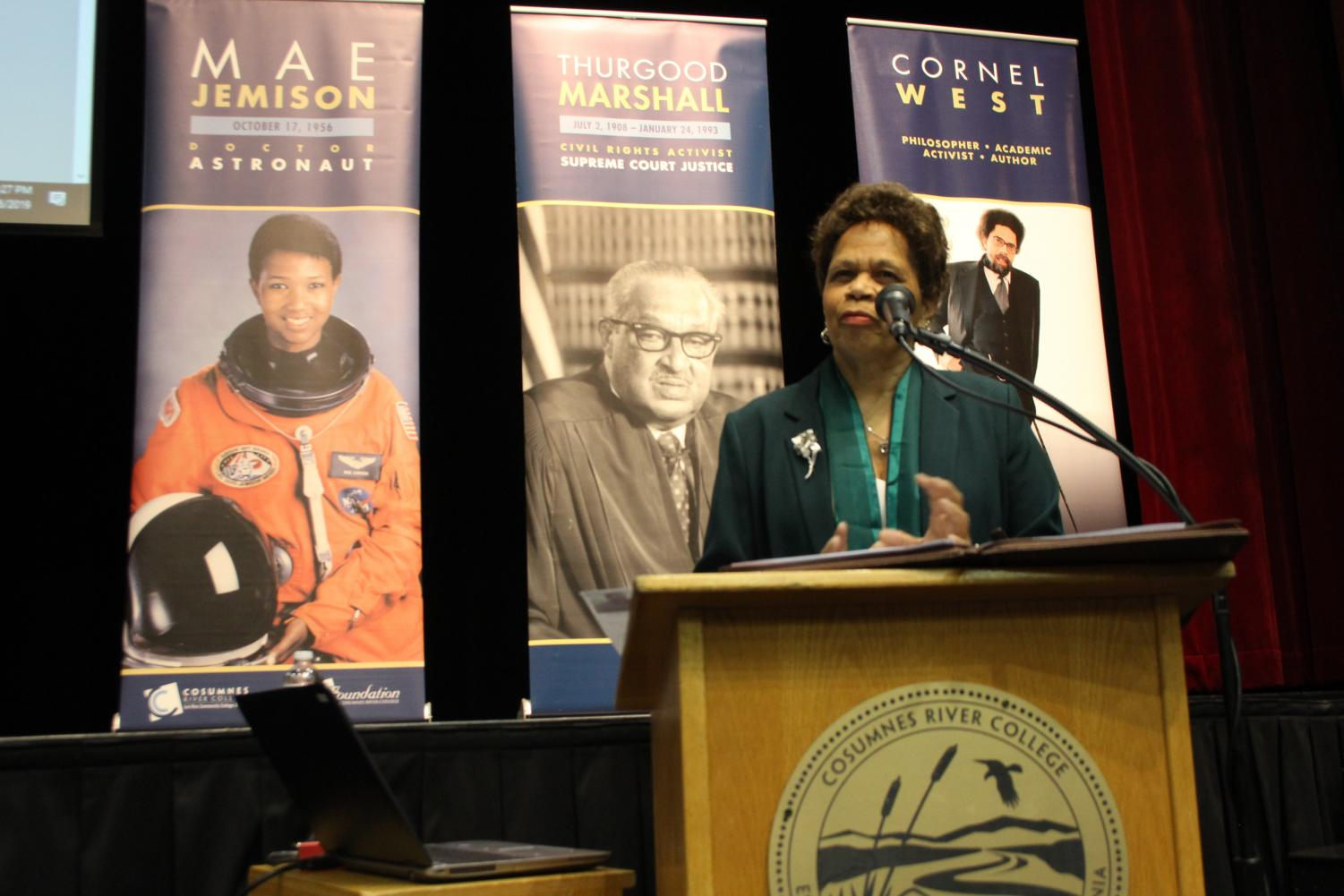 Dr. Melvina Jones presents her family's story of migration during the opening ceremony of Black History Month on Feb. 6.