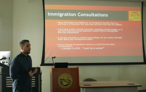 Speaker emphasizes the importance of immigrants' rights during event