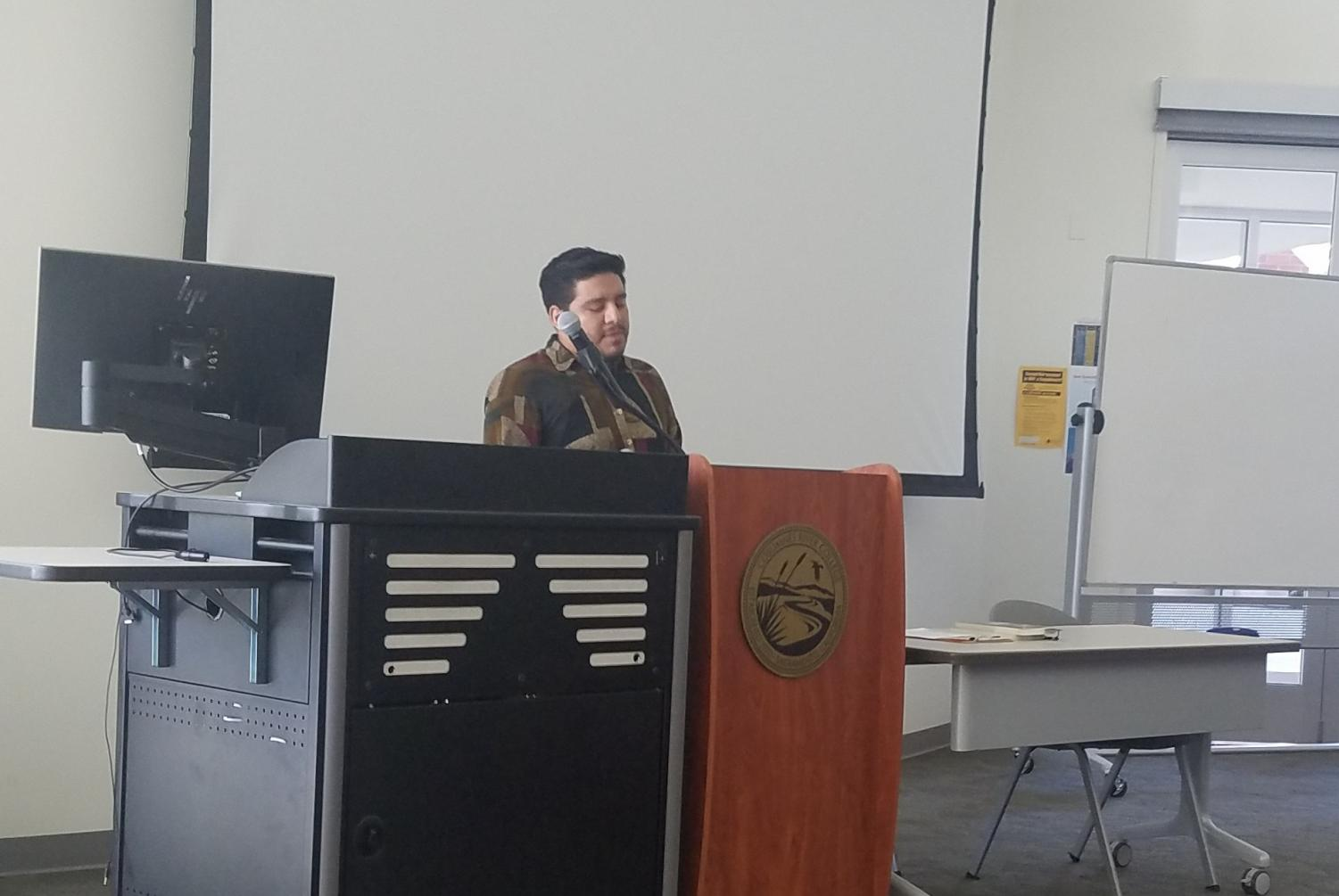 Oswaldo Vargas talks about his college career as well as his works as a poet. The event, which was on Tuesday, was the first event for Mes de Latinx, also known as Hispanic Heritage Month.
