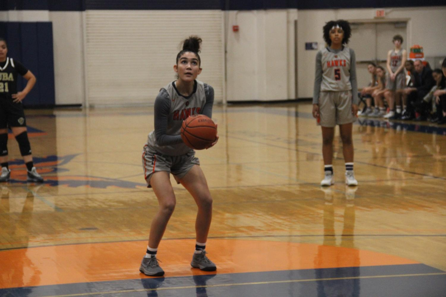 Sophomore guard Arionna Butts gets ready to throw a free throw from the goal line during their game with Yuba College 49ers. The game, which took place on Tuesday, resulted in a 3-6 loss for the Hawks.