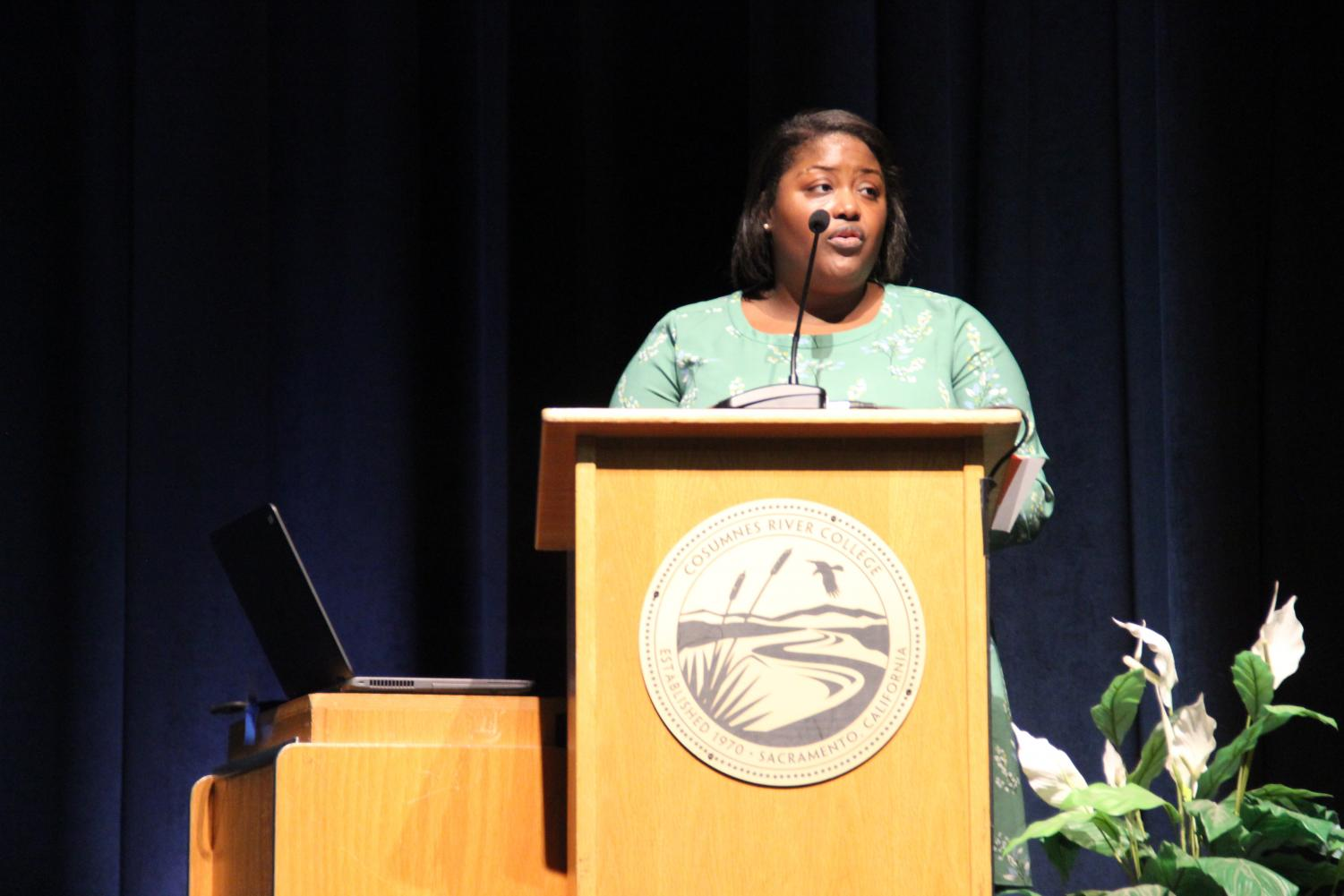 Main speaker Keisha Ray explains to the audience that black women in America are three times more likely to die during or soon after childbirth than white women. The event was part of the two-day Fall Ethics Symposium, the second day held at Cosumnes River College on Nov. 19.