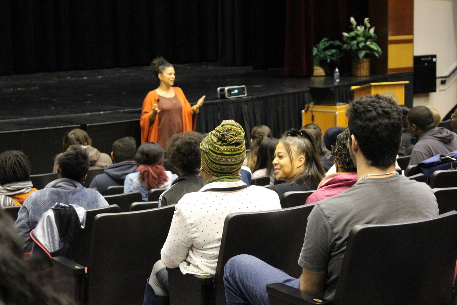 Keynote Speaker Dr. Melina Abdullah addresses students at Cosumnes River College's kickoff on Feb. 4 to Black History month. Dr. Abdullah is currently the leader of the Los Angeles Chapter of the Black Lives Matter Movement.