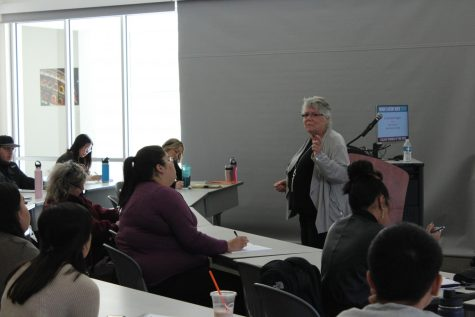 "Dr. Sally Roesch Wagner kicks off Women's History Month by discussing ""Fascinating Facts About Women's Suffrage"" to students and faculty. The event consisted of Dr. Wagner's discussion and book signing as well as an open Q&A for students to participate in on Wednesday in Winn 150."