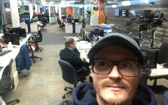Student reporter Mason White, captures what the newsroom looks like during this pandemic on April 6. White shows that they are practicing social distancing while working.