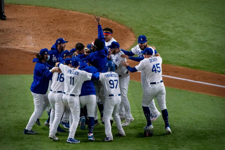 The Dodgers on-field celebration for their Game 6 clincher for their first World Series since 1988. All Dodger players rush to the mound to celebrate after Dodgers pitcher, Julio Urias, records the last out.