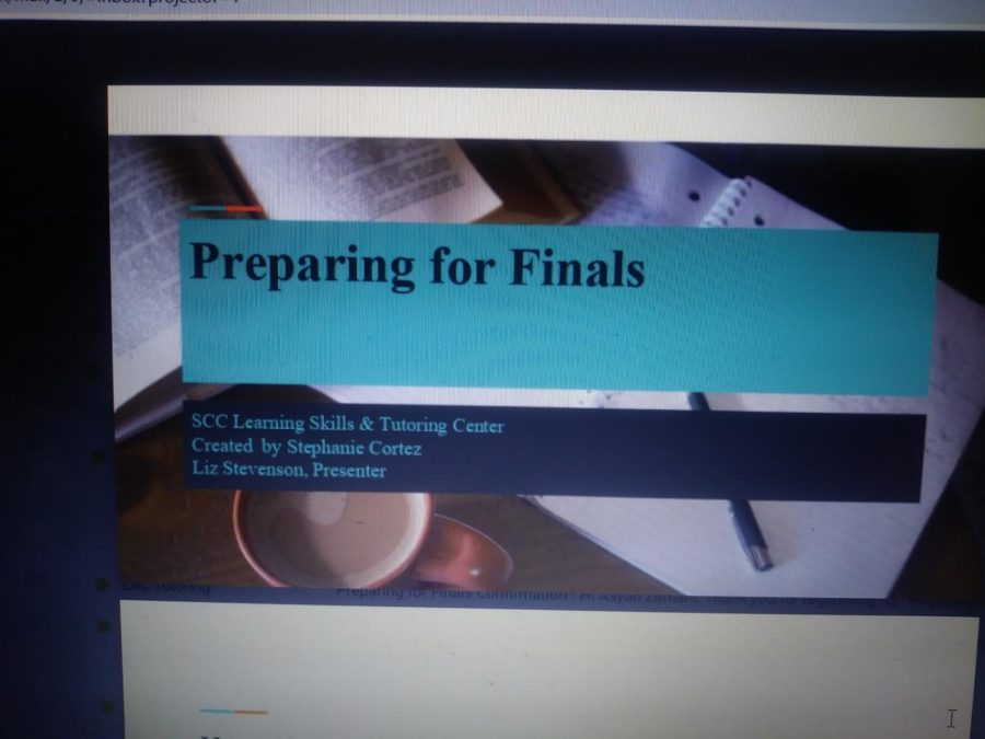 Learning Services Coordinator Liz Stevenon's powerpoint presentation on preparing students for their finals. Stevenson talks about different strategies that students can use as a guide as they prepare to study.