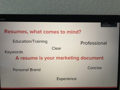 Slide from Career Coach Eden Waldon. Waldon displayed the importance of marketing yourself.