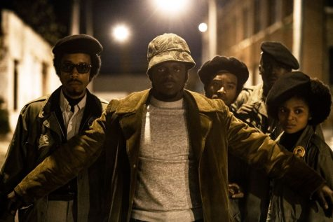 Daniel Kaluuya as Fred Hampton in the center. Judas and the Black Messiah is in theatres now and streaming digitally via HBO Max.