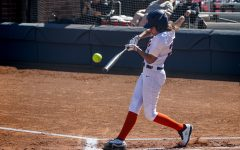 Coronado swinging at a pitch during a game in the spring 2020 season. Coronado was leading the team in batting average and runs scored before the pandemic halted the season.