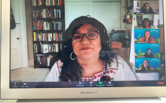 Guest speaker and author Reyna Grande with the attendees through Zoom on April 22. Grande talks about her books called,