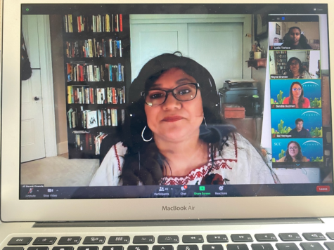 Guest speaker and author Reyna Grande with the attendees through Zoom on April 22. Grande talks about her books called, The Distance Between Us and A Dream Called Home, which are about her journey and being an immigrant from Mexico.
